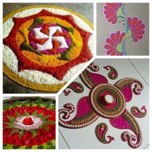 Some more rangoli designs - pookalam (flowers), floral design free hand rangoli (colour powder), flower rangoli in water, ready to use kundan rangoli respectively