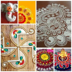 Some rangoli designs - with rice grains, flowers, white rangoli powder, kundans, flowers, kundans respectively.