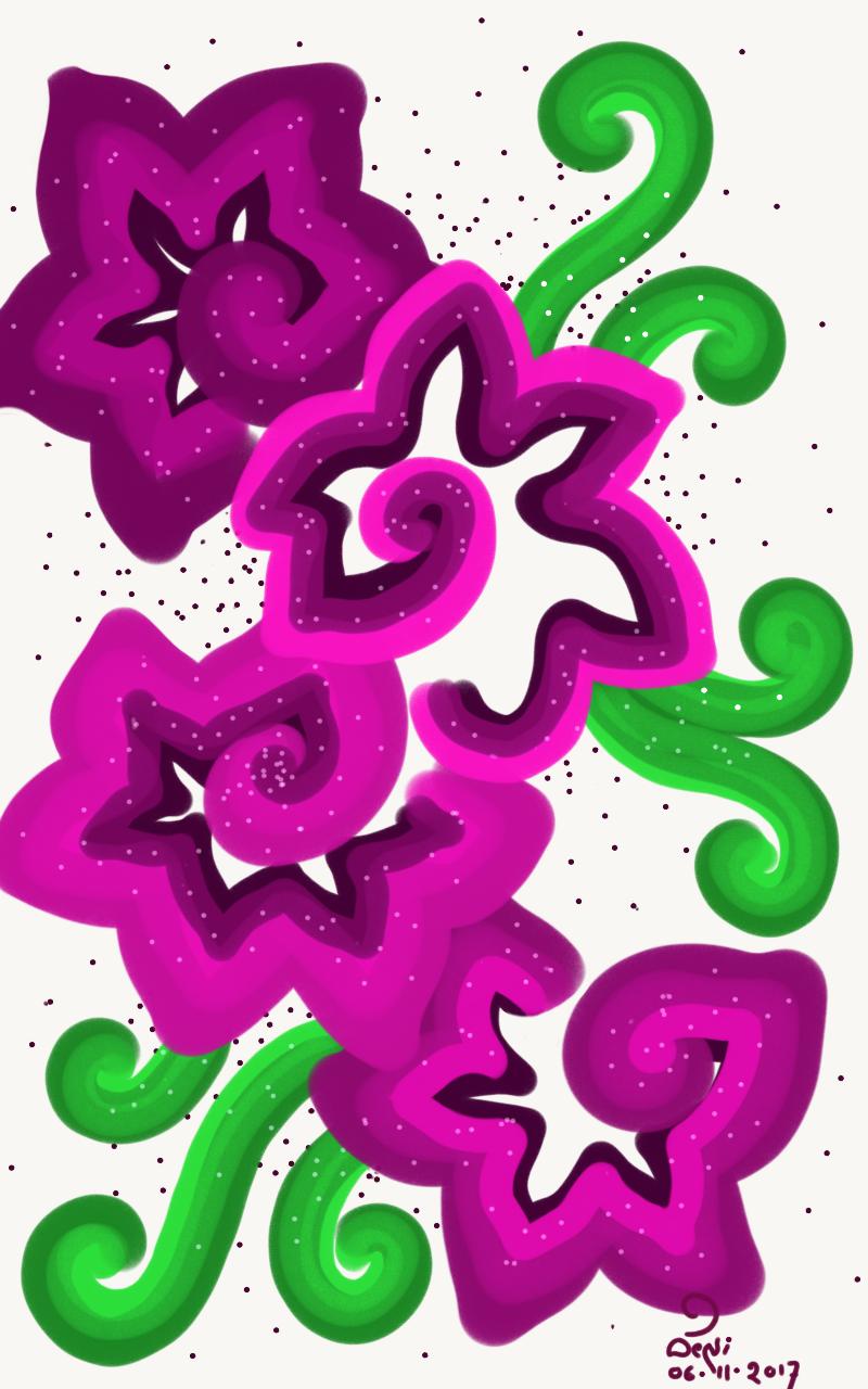 A floral art drawn in fingertip using adobe photoshop sketch app.