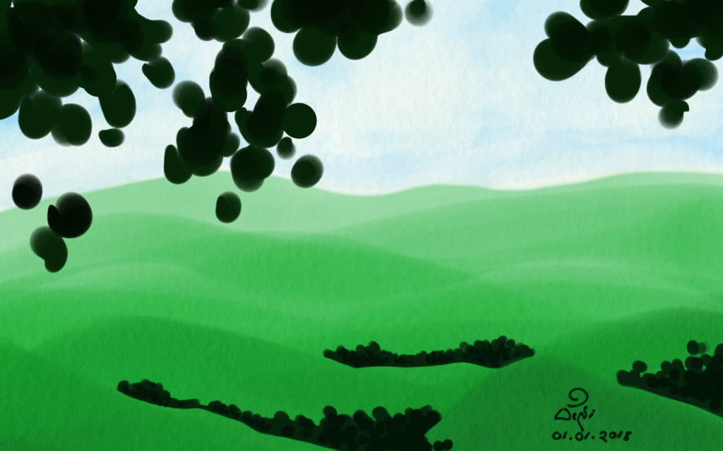 A digital painting drawn with Adobe Photoshop Sketch app depicting an imaginary landscape with green hills seen through the silhouette created by the leaves of a tree nearby.
