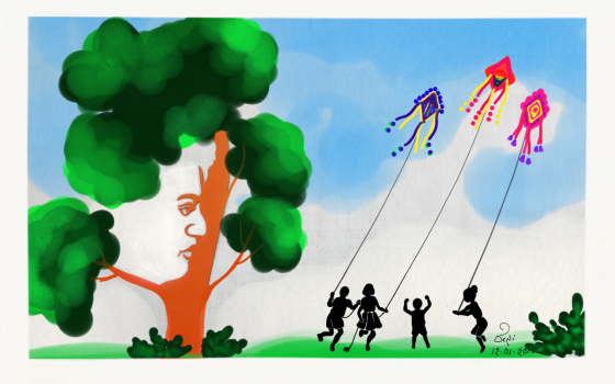 A digital art depicting Kids Flying Kites of their dreams in the Shade of the tree of Vivekananda's Wisdom. This artwork is made with Adobe Photoshop Sketch app on the occasion of 'Vivekananda Jayanti' and festival of 'Makara Sankranti'
