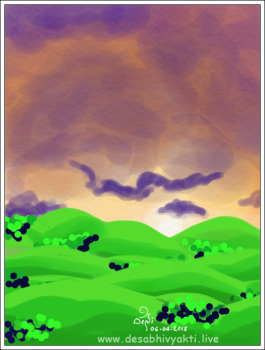 A cloudy morning with purple shade resulting a dramatic sunrise - A digital art with Adobe Sketch App by DeSi